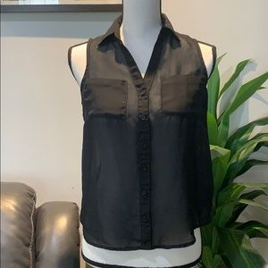 Wet Seal petite sleeveless sheer blouse-size XS -